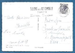 AFFRANCATURA MECCANICA SALONE DELL'AUTOMOBILE TORINO 1957 SU CARTOLINA - Affrancature Meccaniche Rosse (EMA)