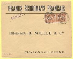 FRANCIA - France - 1928 - 2 X 25c Semeuse + Cachet Ambulant - Grands Économats Français - Viaggiata Da Saint-Dizier à Tr - Storia Postale