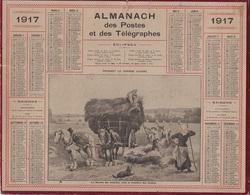 ALMANACH DES POSTES 1917 - FORMAT LIVRET CARTONNE SIMPLE - COMPLET -DEPARTEMENT DE L'ISERE. - Calendars