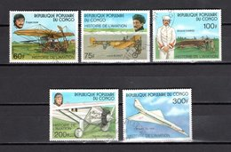 CONGO   N° 471 à 475  OBLITERES  COTE  3.00€  AVION  CONCORDE - Congo - Brazzaville