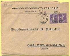 FRANCIA - France - 1927 - 2 X 35c Semeuse Surchargés 25c + Cachet Ambulant - Grands Économats Français - Viaggiata Da Sa - Storia Postale