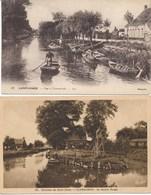 62) 2 Cartes CLAIRMARAIS (env. St-OMER) : Le Moulin Rouge Et Vue à Clairmarais - Saint Omer