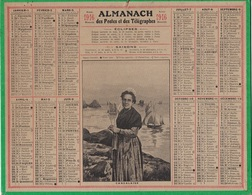 ALMANACH DES POSTES 1916 - FORMAT LIVRET CARTONNE SIMPLE - COMPLET - DEPARTEMENT L'ISERE. - Calendars