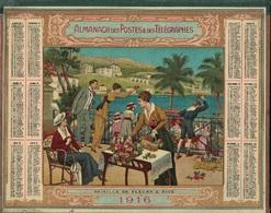 ALMANACH DES POSTES 1916 - FORMAT LIVRET CARTONNE DOUBLE - COMPLET - DEPARTEMENT L'ISERE - BATAILLE DE FLEURS A NICE. - Calendari