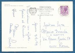 AFF.  MECCANICA CONFERENZA TECNICA MARITTIMA GENOVA 1969 SU CARTOLINA - Affrancature Meccaniche Rosse (EMA)