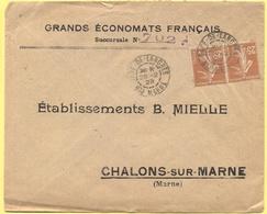 FRANCIA - France - 1928 - 2 X 25c Semeuse - Grands Économats Français - Viaggiata Da Gare De Langres Per Châlons-sur-Mar - Storia Postale