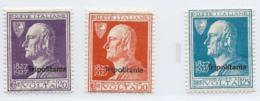Tripolitania, Scott # 25-7 Mint Hinged Italy Volta Issue Overprinted, 1927, #27 Has Edge Thin At Left - Tripolitania