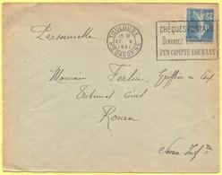 FRANCIA - France - 1921 - 25c Semeuse + Flamme Chèques Postaux, Demander L'ouverture D'un Compte Courant - Seul - Viaggi - Storia Postale