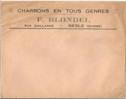Enveloppe Publicitaire Charbons En Tous Genres F Blondel Nesle Somme - Publicités