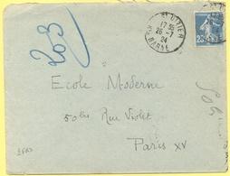 FRANCIA - France - 1924 - 25c Semeuse - Seul - Viaggiata Da Saint-Dizier Per Paris - Storia Postale