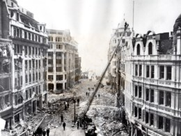 WWII Blitz Ruines De Londres Rue Commercante Pompiers Ancienne Photo 1941 - War, Military