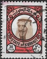 KUWAIT 1977 Sheikh Sabah - 30f - Brown, Black And Red FU - Kuwait