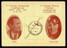 Lettre AVIATION - ATLANTIQUE SUD - AIR FRANCE - MERMOZ / Maryse BASTIE - Avions