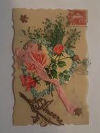 Belle Carte Celluloïd Avec Chromos, Ruban, Roses, Fleurs, Coeur - Fleurs