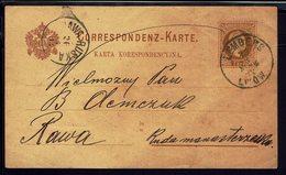 POLOGNE - 1882 - Ghetto Juif De Lemberg G.L Wow - Entier Postal Autrichien 2 Kr à Destination Du Camp De Rawa Ruska - - Entiers Postaux