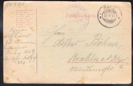 FELDPOST Sent 1917 - Oorlog 1914-18