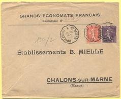 FRANCIA - France - 1928 - 50c + 35c Semeuse Surchargés 25c + Cachet Ambulant - Grands Économats Français - Viaggiata Da - Storia Postale