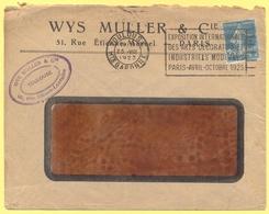 FRANCIA - France - 1923 - 25c Semeuse + Flamme Exposition International Des Arts Décoratif Et Industriels Modernes - Seu - Storia Postale