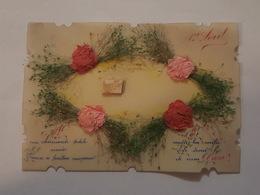 1er Avril - Jolie Carte Celluloïd Avec Collage De Fleurs, Roses En Papier - 1er Avril - Poisson D'avril