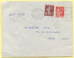 FRANCIA - France - 1937 - 15c Semeuse + 50c Paix + Flamme Exposition Internationale - Viaggiata Da Paris Per Cosne - France