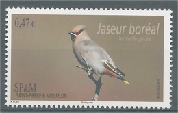 Saint Pierre And Miquelon, Bird, Bohemian Waxwing, 2014, MNH VF - Unused Stamps