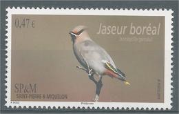 Saint Pierre And Miquelon, Bird, Bohemian Waxwing, 2014, MNH VF - Nuovi