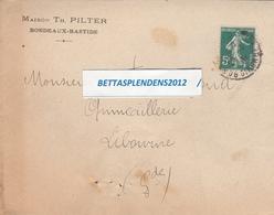 LAC 1916 - Entête - Maison TH. PILTER à BORDEAUX BASTIDE - Avec Bon De Recouvrement Par Administration Postes - Postmark Collection (Covers)