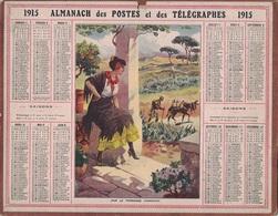 ALMANACH DES POSTES 1915 - FORMAT LIVRET CARTONNE SIMPLE - INCOMPLET - VERSO INFORMATIONS POSTALES. - Calendars