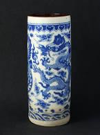 Chinese Blue & White Pottery Hat Stand, Chinese Yongzheng Porcelain, Phoenix & Dragon Pattern Chinese Art Pottery. - Oriental Art