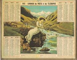 ALMANACH DES POSTES 1912 - FORMAT LIVRET CARTONNE SIMPLE - INCOMPLET - VERSO UNE PAGE DES COMMUNES DEPARTEMENT DU NORD - Calendars