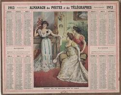 ALMANACH DES POSTES 1912 - FORMAT LIVRET CARTONNE SIMPLE - INCOMPLET - VERSO UNE PAGE DES COMMUNES D'ALGERIE. - Calendars