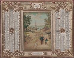 ALMANACH DES POSTES 1909 - FORMAT LIVRET CARTONNE DOUBLE - INCOMPLET - DEPARTEMENT DU MAINE ET LOIRE - TROUS - Calendars