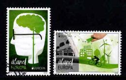Aland, Yv 422-23 Jaar 2016, Europa Cept, Think Green,  Reeks,  Gestempeld, Zie Scan - Aland