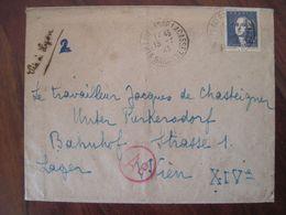 France 1943 Censure STO Lager 14 Autriche Enveloppe Cover Belege DR Lager Lavernose Lacasse WK2 Lavoisier - Marcofilie (Brieven)