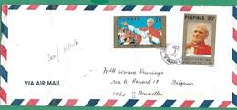 ! - Philippines (Pilipinas) - Enveloppe Avec 2 Timbres De 1981 - Visite Du Pape Jean-Paul II - Envoi Vers Bruxelles - Philippines