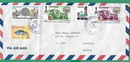 ! - Philippines (Pilipinas) - Enveloppe Avec 8 Timbres - Envoi Vers Bruxelles - Cachet De 1976 - Philippines