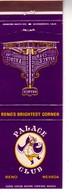 Matchbook Cover ! Palace Club Casino, Reno, Nevada, U.S.A.  ! - Matchboxes