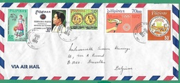 ! - Philippines (Pilipinas) - Enveloppe Avec 5 Timbres - Envoi Vers Bruxelles - Cachet De 1978 - Philippines