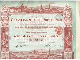 Action Ancienne - Compagnie Des Charbonnages De Pobedenko - Titre De 1908 - Déco - - Russie