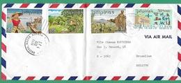 ! - Philippines (Pilipinas) - Enveloppe Avec 4 Timbres - Envoi Vers Bruxelles - Cachet De 1971 - Philippines