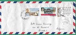 ! - Philippines (Pilipinas) - Enveloppe Avec 3 Timbres - Envoi Vers Bruxelles - Cachet De 1967 - Philippines