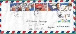 ! - Philippines (Pilipinas) - Enveloppe Avec 6 Timbres - Envoi Vers Bruxelles - Cachet De 1984 - Philippines