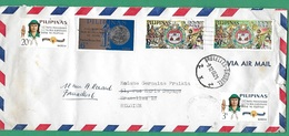 ! - Philippines (Pilipinas) - Enveloppe Avec 5 Timbres - Envoi Vers Bruxelles - Cachet De 1966 - Philippines