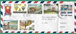 ! - Philippines (Pilipinas) - Enveloppe Avec 7 Timbres - Envoi Vers Bruxelles - Cachet De 1971 - Philippines