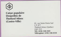 Calendrier °° 1996 - Québec - Caisse Populaire - Desjardins - Thetford - 6x9 - Calendari