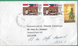 ! - Philippines (Pilipinas) - Enveloppe Avec 3 Timbres - Envoi Vers Bruxelles - Cachet De 1966 - Philippines
