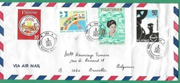 ! - Philippines (Pilipinas) - Enveloppe Avec 4 Timbres - Envoi Vers Bruxelles - Cachet De 1977 - Philippines