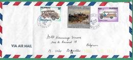 ! - Philippines (Pilipinas) - Enveloppe Avec 3 Timbres - Envoi Vers Bruxelles - Cachet De 1980 - Philippines