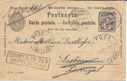 Lausanne - PORTUGAL 1897 Demi-carte-réponse + Type Chiffre 5 Centimes, Cachets REFUGO + PAS RECLAME, NAO RECLAMADO - Ganzsachen