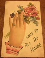 Love To All At Home ~ Depicting A Hand Holding A Posy Of Flowers ~ The Words And Flowers Outlined With Glitter - Holidays & Celebrations